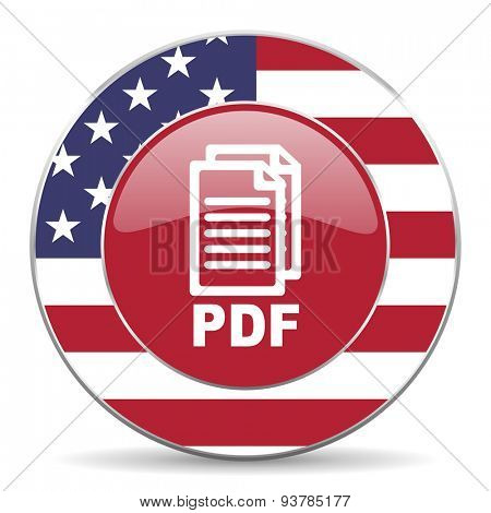 pdf american icon ,original modern design for web and mobile app on white background