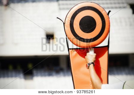 American football game. Sideline markers used in American football games