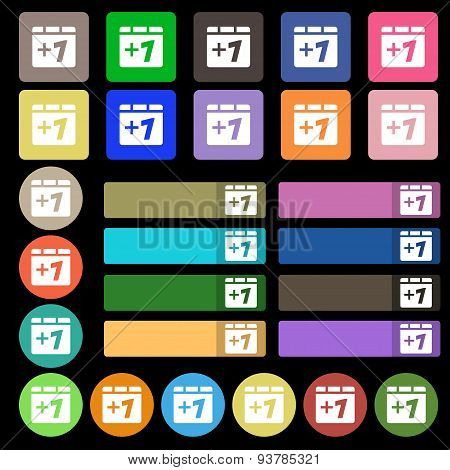 Plus One, Add One  Icon Sign. Set From Twenty Seven Multicolored Flat Buttons. Vector