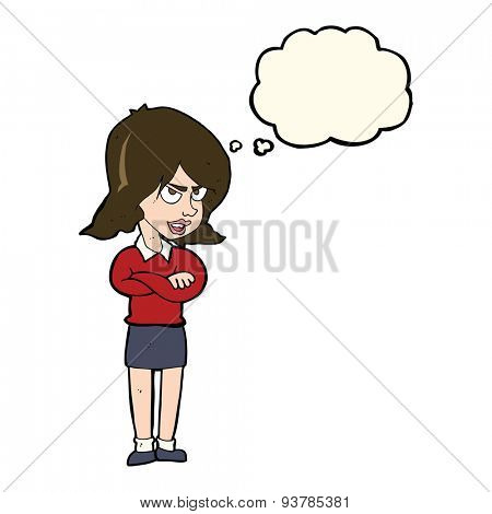 cartoon angry woman with thought bubble