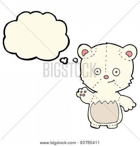cartoon polar bear cub waving with thought bubble