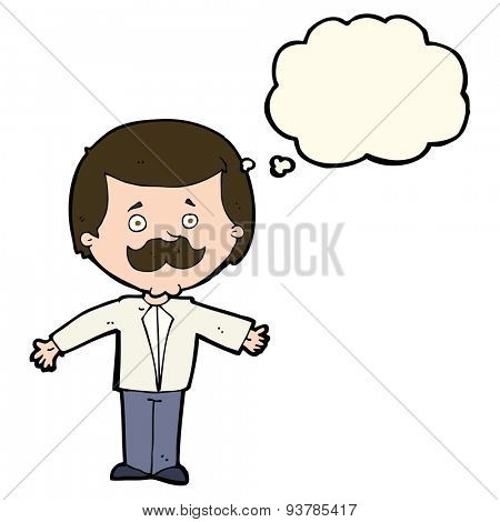 cartoon mustache man with open arms with thought bubble