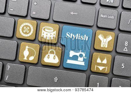 Colorful stylish key on keyboard