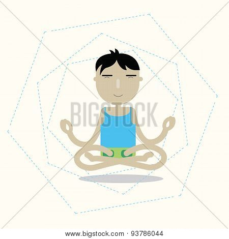 Vector man sitting cross-legged meditating