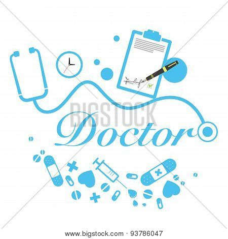 vector doctor title with medical instruments