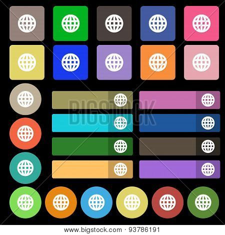 Globe, World Map Geography  Icon Sign. Set From Twenty Seven Multicolored Flat Buttons. Vector