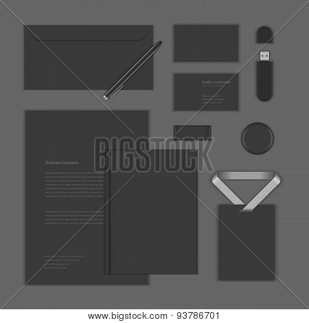 Black Luxury Logotype presentation corporate identity template Mock up design elements. Vector Business stationery objects