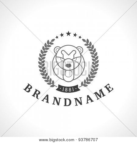 Vintage bear face Line art logotype emblem symbol. Can be used for labels, badges, stickers, logos vector illustration.