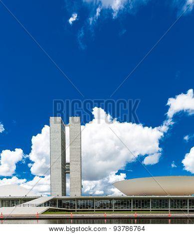 BRASILIA, BRAZIL - CIRCA MARCH 2015: Brazilian National Congress in Brasilia, Brazil.