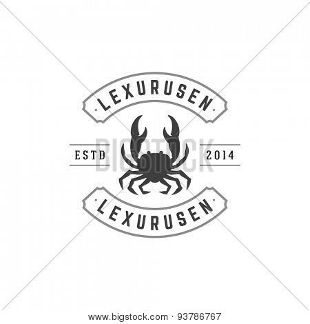Crab logo emblem template mascot symbol for business or shirt design. Vector Vintage Design Element.