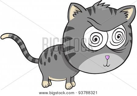 Crazy Cat Vector Illustration Art