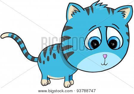 Cute Cat Illustration Art isolated on white background