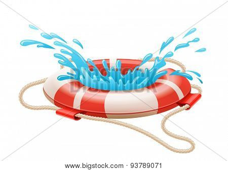 Life buoy for drowning rescue on water. Eps10 vector illustration. Isolated on white background