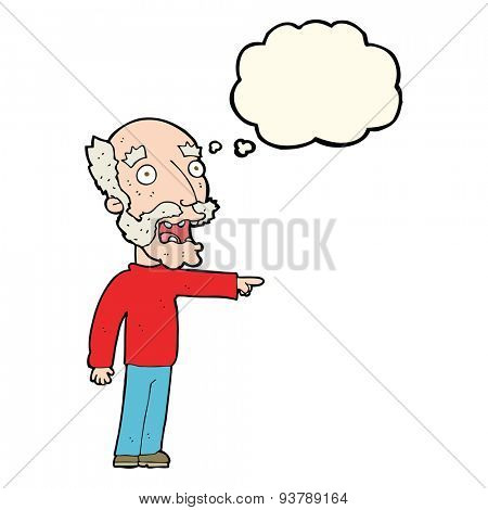cartoon scared old man pointing with thought bubble