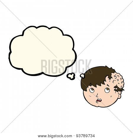 cartoon boy with ugly growth on head with thought bubble