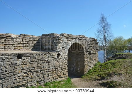 Ruins Of The Ancient Fortress In Staraya Ladoga City, Russia