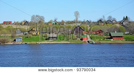 Volkhov River Panorama With Houses At The Shore. Staraya Ladoga Village