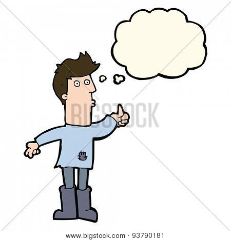 cartoon poor man with thought bubble