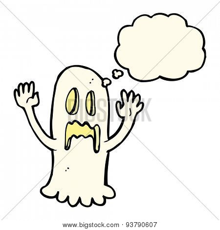 cartoon spooky ghost with thought bubble