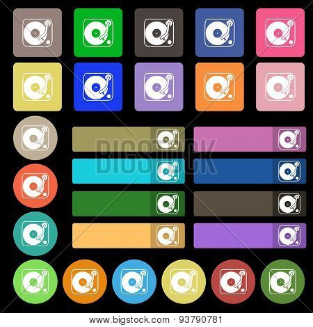 Gramophone, Vinyl Icon Sign. Set From Twenty Seven Multicolored Flat Buttons. Vector