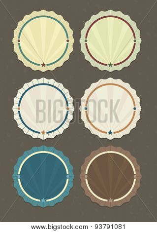 Vector set of round badges in vintage style on textured background