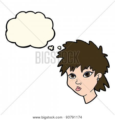 cartoon curious girl with thought bubble