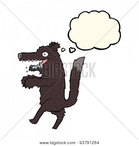 cartoon big bad wolf with thought bubble