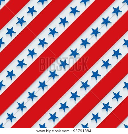 4th July. Stars and stripes wallpaper. 3d seamless background. Vector EPS10.