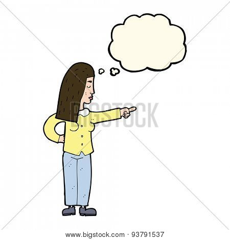cartoon woman pointing with thought bubble