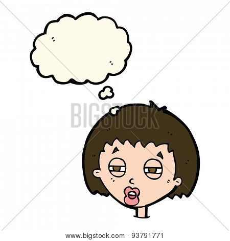 cartoon woman narrowing eyes with thought bubble