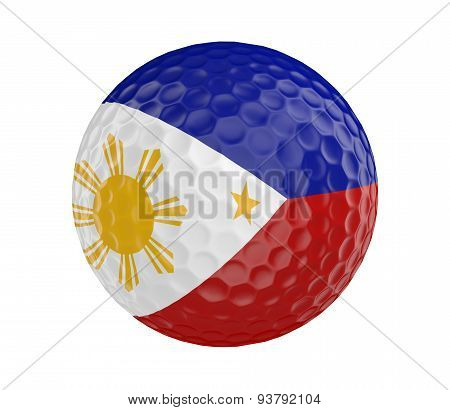 Golf ball 3D render with flag of Philippines, isolated on white