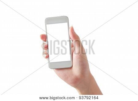 Hand Holding Blank Phone Isolated