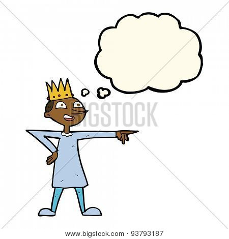 cartoon pointing prince with thought bubble