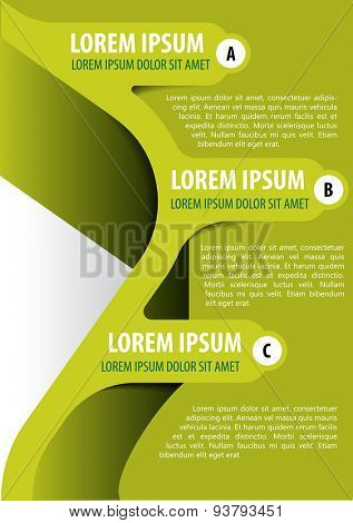 Green background for brochure, poster or flyer with three tabs ABC