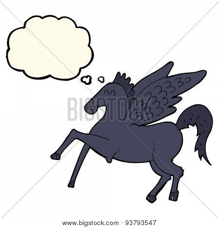 cartoon magic flying horse with thought bubble