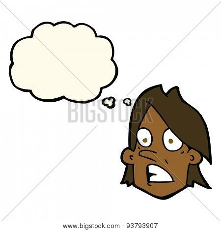 cartoon frightened face with thought bubble