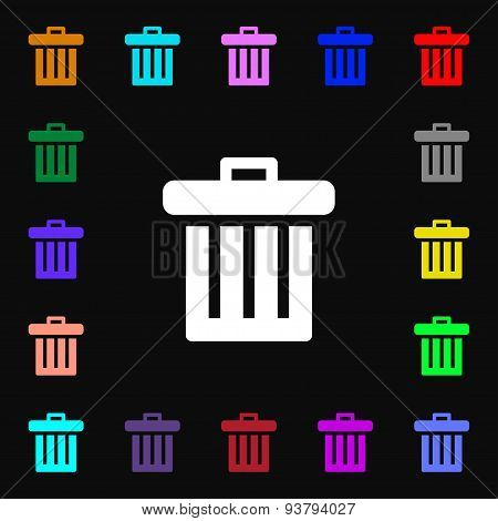 Recycle Bin Icon Sign. Lots Of Colorful Symbols For Your Design. Vector
