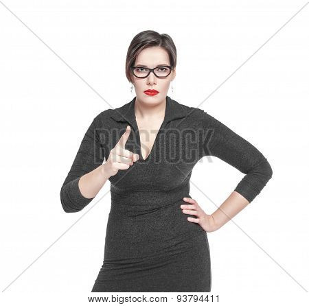 Strict Teacher Woman Threatens By Finger Isolated