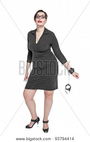 Beautiful Plus Size Woman In Black Dress With Handcuffs Isolated
