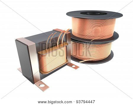 Transformer And Wire Reels.