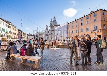 Piazza Navona Landmark Of Rome, Italy