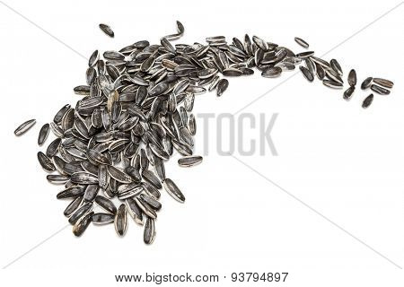 Sunflower seeds on white