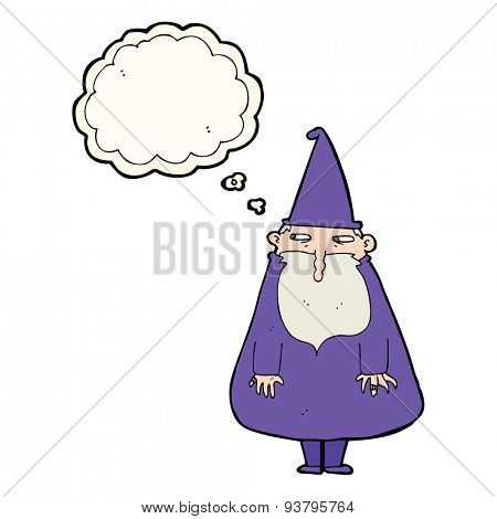 cartoon wizard with thought bubble