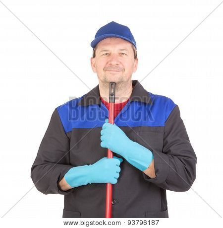Happy cleaner with mop.
