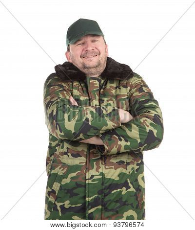Worker military camouflage winter jacket.