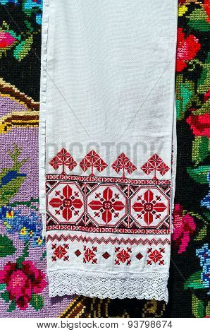 Belorussian Embroidered Towel With Traditional Ornaments