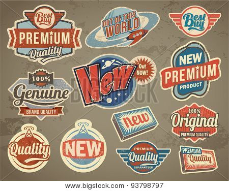 Set of retro vector stickers badges and labels