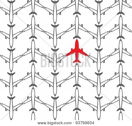 Seamless pattern airplanes - vector