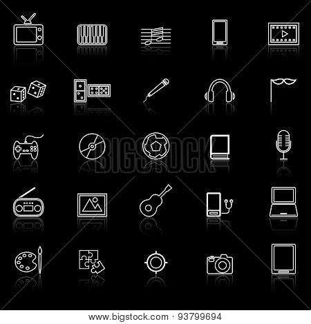 Entertainment Line Icons With Reflect On Black