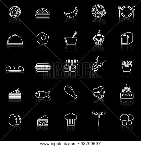 Food Line Icons With Reflect On Black